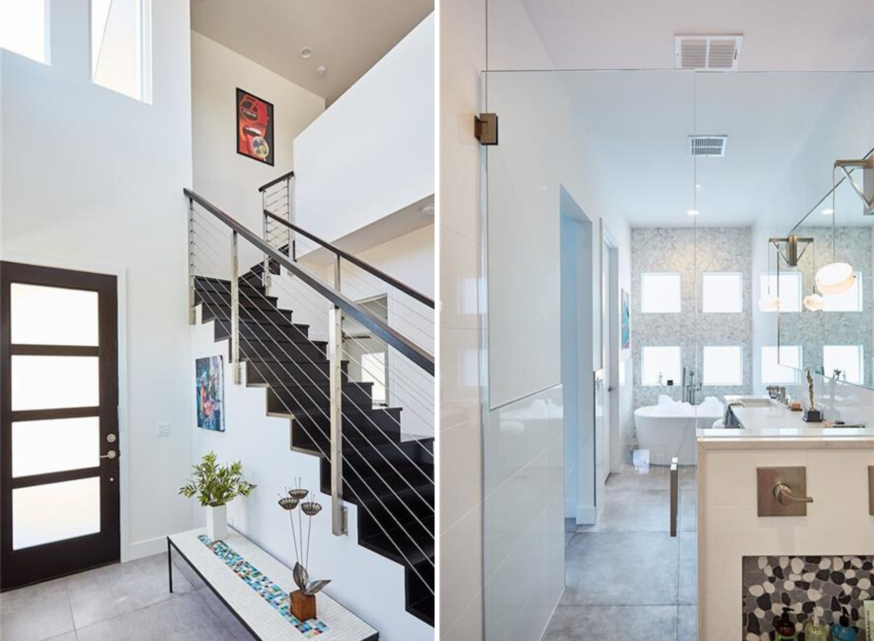 And the white foyer features a black stairway with metal railings in the left pic. Also windows fill the space above the entrance door. But the right side picture shows a master bath with 4 square windows. Also the bathroom is dominated by white tiled walls.
