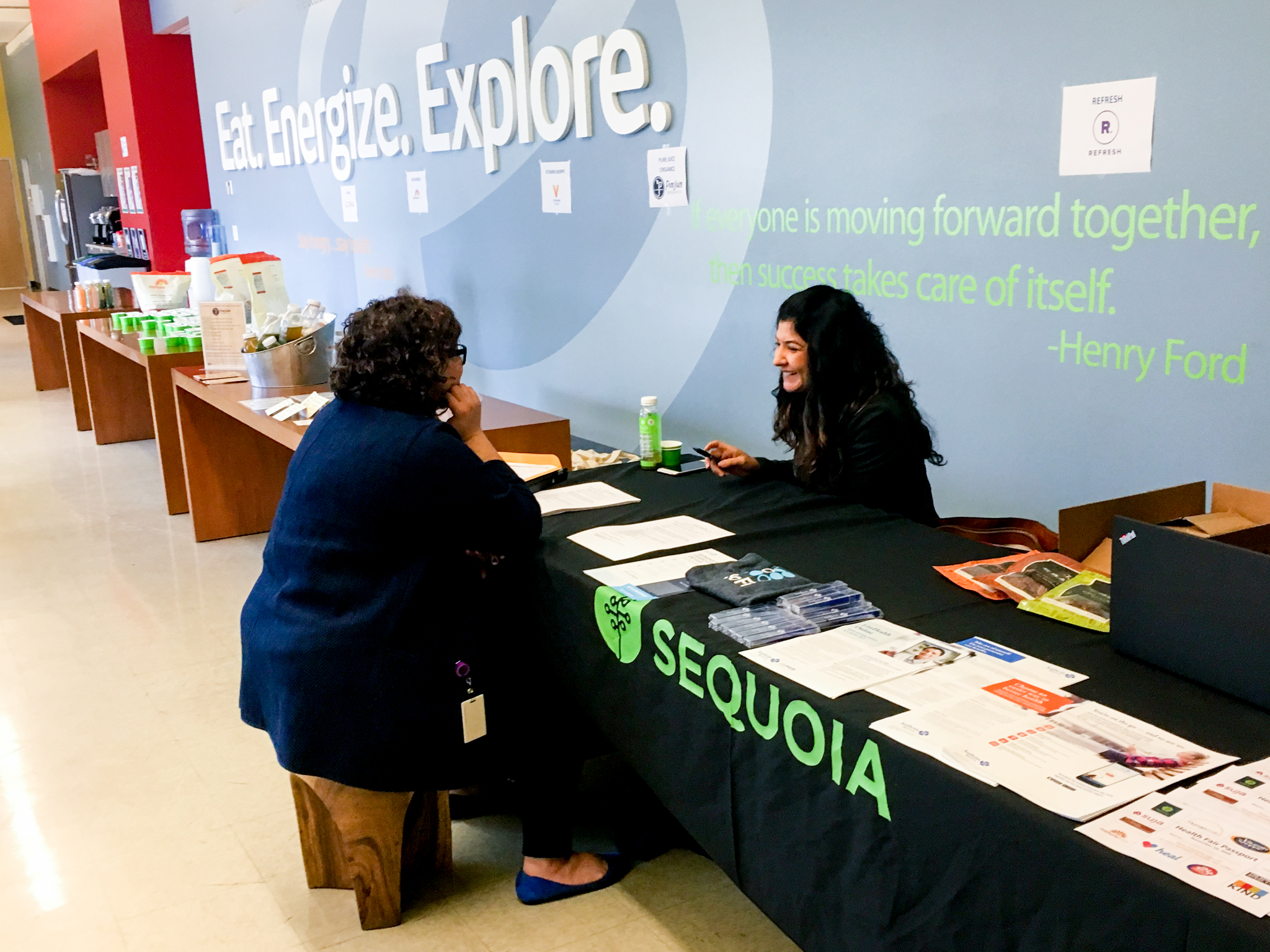 Rose Nemet chatting with Sequoia at Energy Recovery's Lifestyle Event