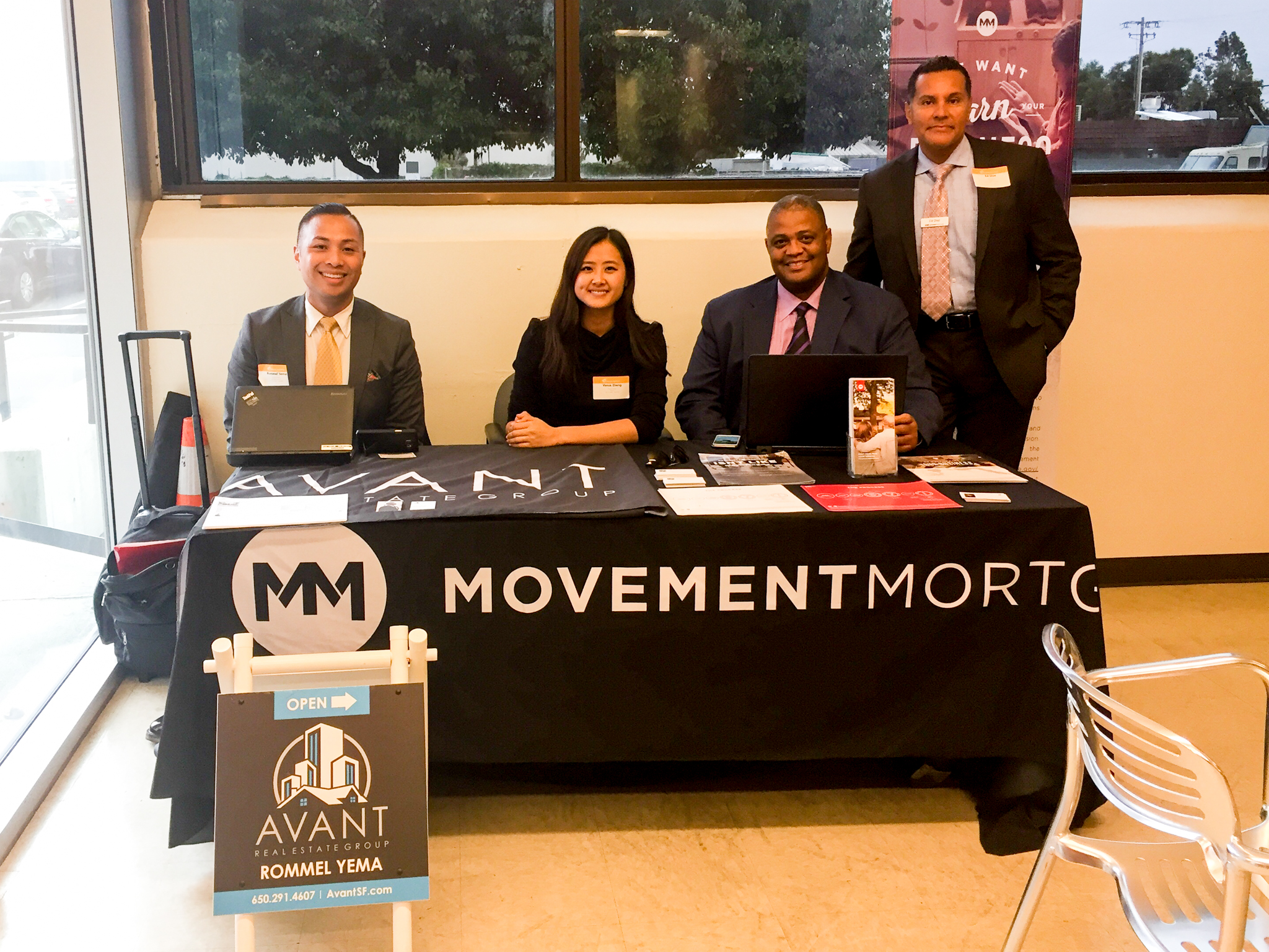 Rommel Yema, Venus Zheng with Daryl Thomas, Ed Dias from Movement Mortgage at Energy Recovery, Inc's Lifestyle Eveent