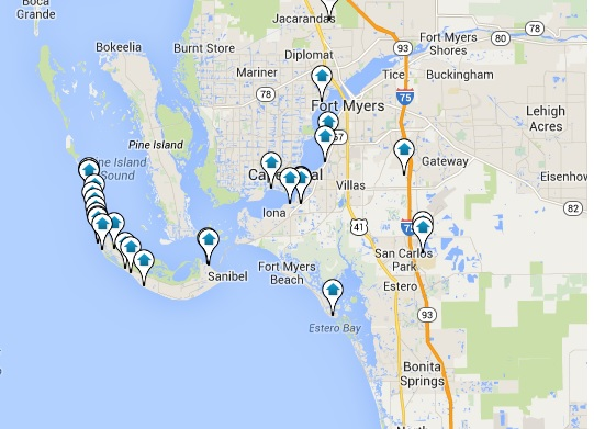 SW FL Real Estate search with an interactive Google Map Search