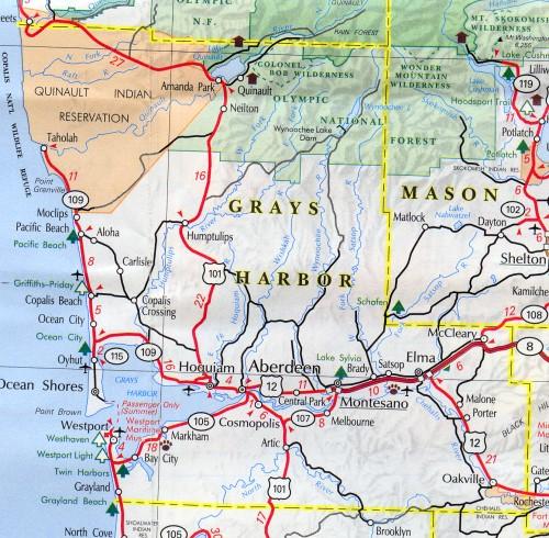 grays harbor county map