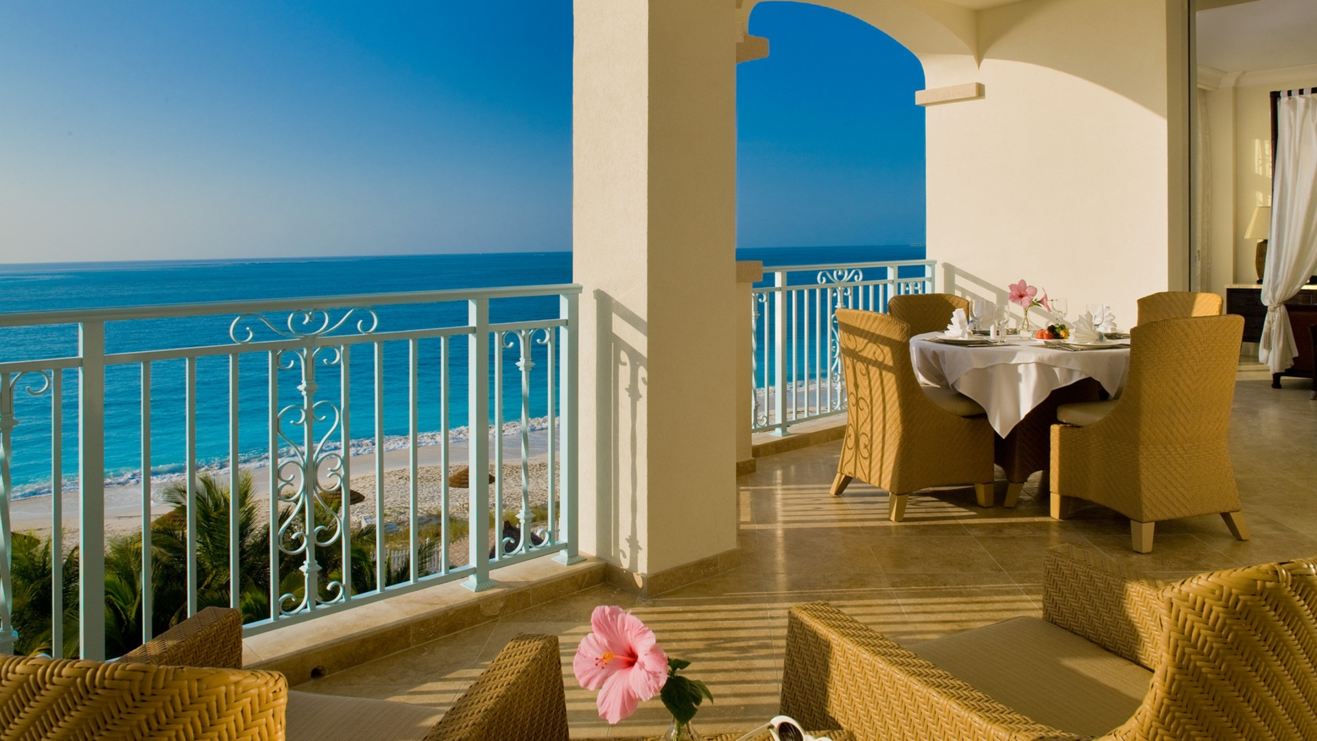 Sea beach terrace balcony view horizon hd wallpaper for Terrace balcony
