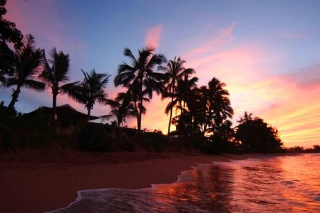 oceanfront house sunset