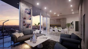 Aurora New Construction condo living room