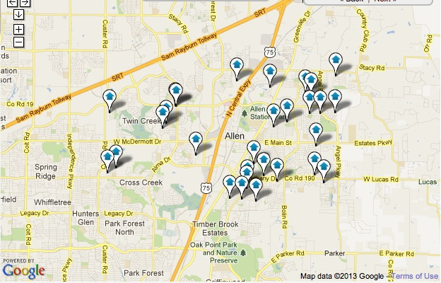 Allen Homes for Sale Map Search