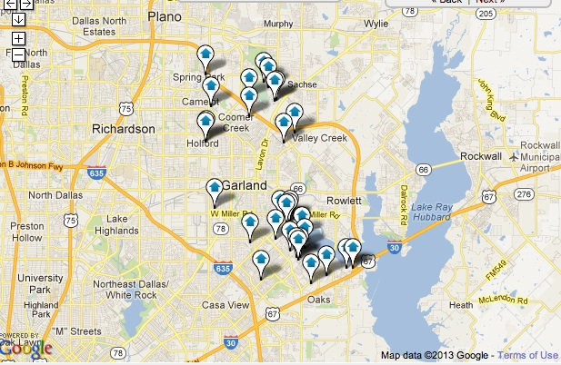 Firewheel - Garland Homes for Sale Map Search