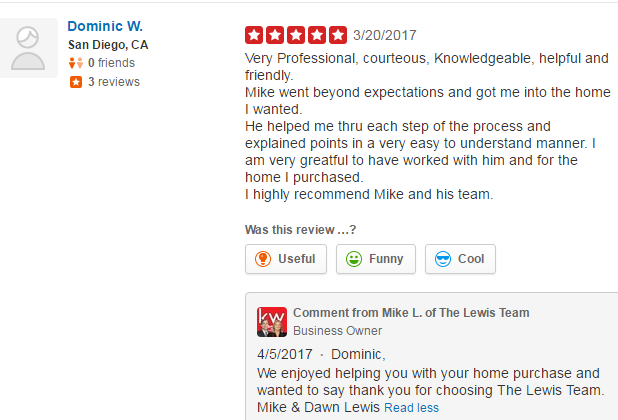 5 Star Yelp San Diego Real Estate Agent Review The Lewis Team