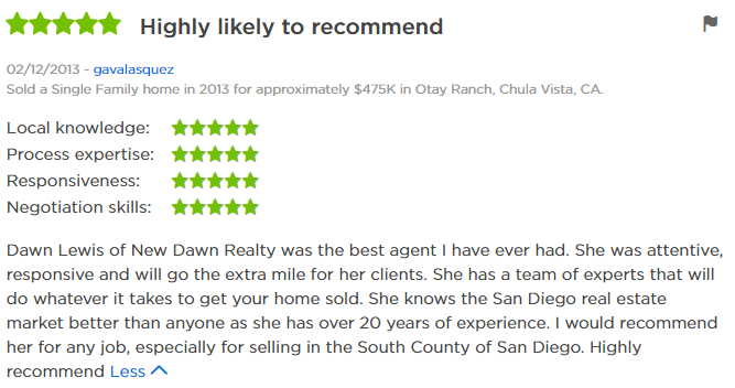 Chula Vista Top Zillow Agent - Chula Vista 5 Star Agent Zillow Review - Dawn Lewis with The Lewis Team at Keller Williams Chula Vista