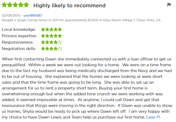 Chula Vista  Agent - Chula Vista 5 Star Agent Zillow Review - Dawn Lewis with The Lewis Team at Keller Williams Chula Vista