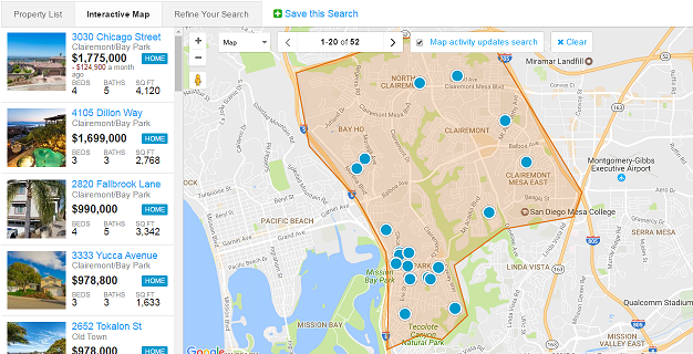 Clairemont Real Estate Search by Map