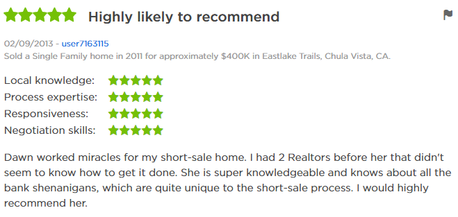 Eastlake Trails Top Zillow Agent - 5 Star Agent Zillow Review East Lake Trails - Dawn Lewis with The Lewis Team at Keller Williams Eastlake Chula Vista