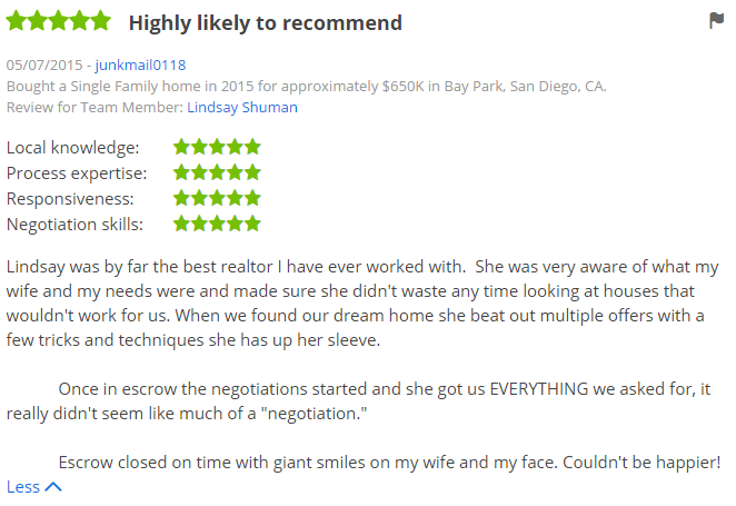 Five Star San Diego Zillow Agent Reviews Purchased a Home in Bay Park Clairemont - The Lewis Team in San Diego