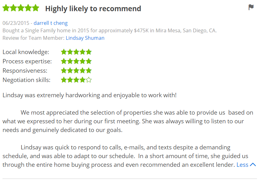 Five Star Zillow Agent Reviews in Mira Mesa San Diego - The Lewis Team in San Diego