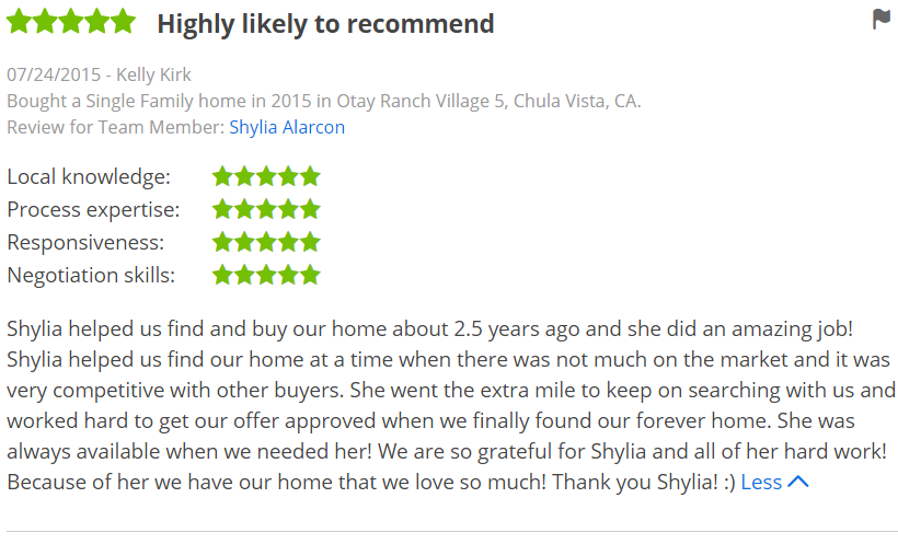 Five Star Zillow Agent in Otay Ranch Chula Vista - The Lewis Team in San Diego