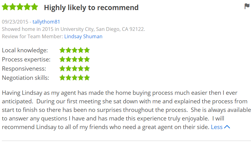 Five Star Zillow Agent in San Diego University City - The Lewis Team in San Diego