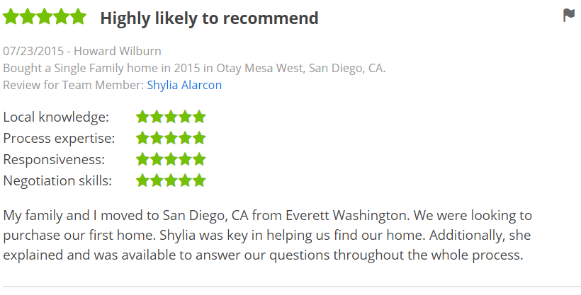 Five Star Zillow Agents in Otay Mesa San Diego - The Lewis Team in San Diego