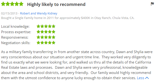 Otay Ranch Top Agent - Otay Ranch Chula Vista 5 Star Top Agent Zillow Review - Dawn Lewis at The Lewis Team at Keller Williams Realty