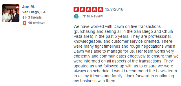 San Diego Real Estate Agent YELP Reviews - The Lewis Team San Diego Real Estate YELP Review - Chula Vista YELP