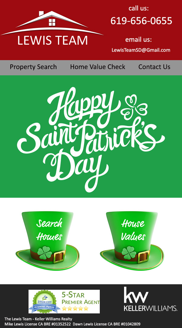 Happy St. Patrick's Day Dawn Lewis and The Lewis Team in San Diego