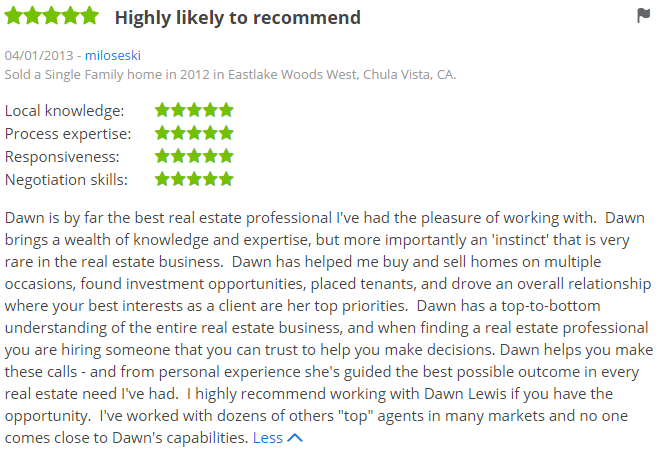 Top Zillow Agents in San Diego - Eastlake Woods Chula Vista Agent Zillow Review - Dawn Lewis with The Lewis Team