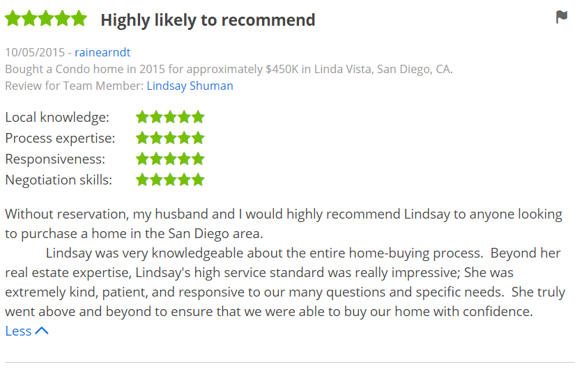 ZILLOW 5 Star Review - Buying a Home in San Diego Linda Vista Zillow Review - The Lewis Team
