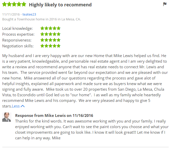 ZILLOW 5 Star Review - Buying a condo in San Diego County Zillow Review - The Lewis Team