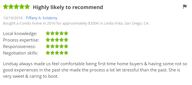 ZILLOW 5 Star Review - Buying a condo in San Diego Linda Vista Zillow Review - The Lewis Team