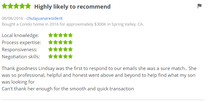 ZILLOW 5 Star Review - Buying a condo in San Diego Spring Valley Zillow Review - The Lewis Team