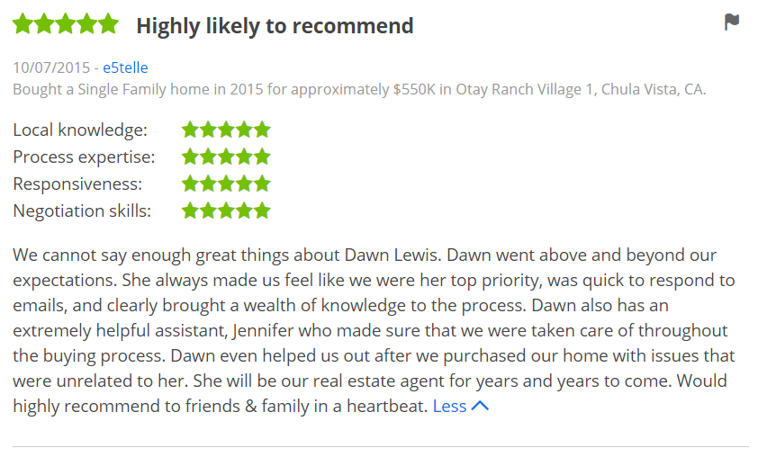 ZILLOW 5 Star Review Dawn Lewis - Bought a Home in Otay Ranch Chula Vista Zillow Review - The Lewis Team
