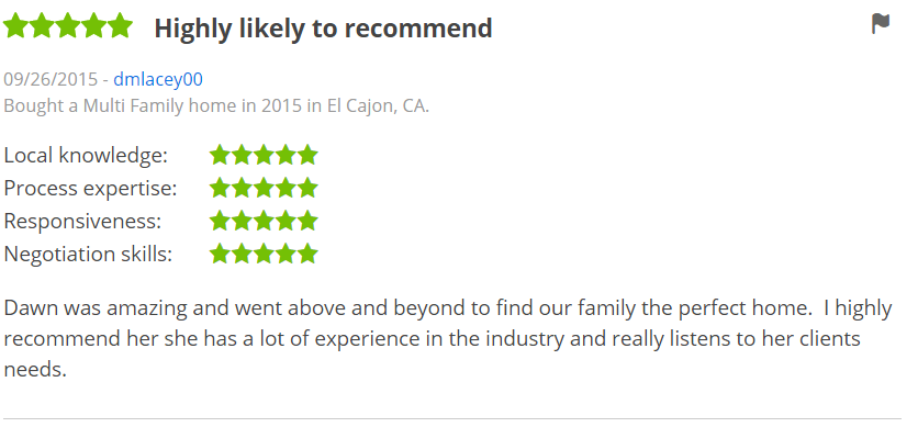 ZILLOW 5 Star Review Dawn Lewis - Bought a Multifamily Home in El Cajon San Diego Zillow Review - The Lewis Team