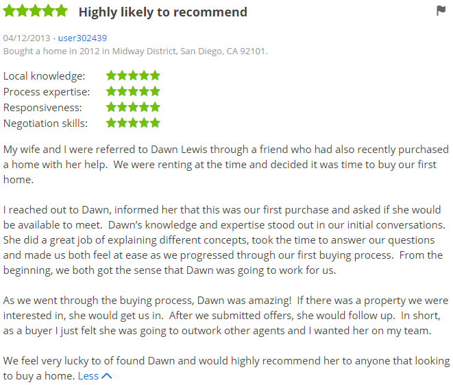 Zillow Agent in San Diego California - 5 Star Agent with The Lewis Team - Dawn Lewis in San Diego