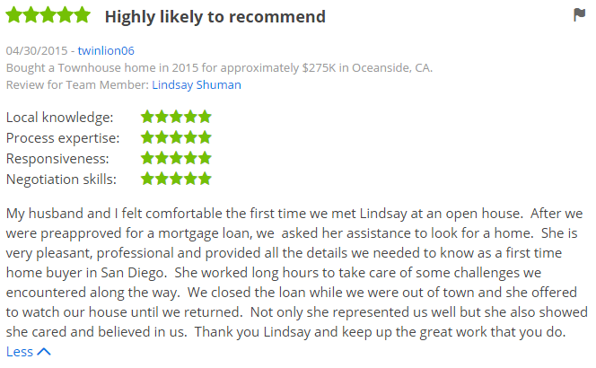 Zillow Premier Agents in San Diego - 5 Star Zillow Agent Helped Buyer in Oceanside - The Lewis Team San Diego