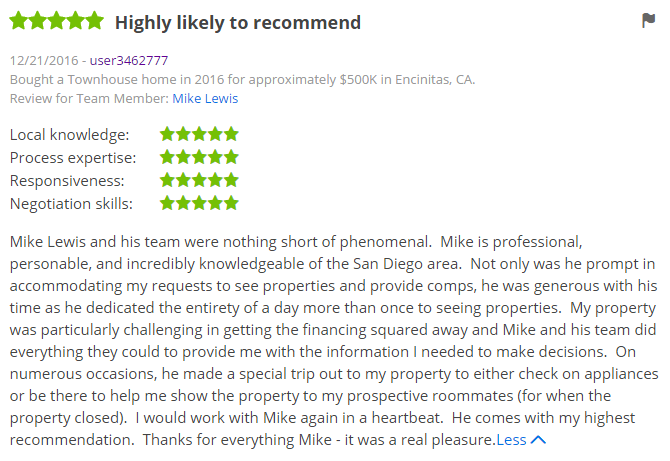 Zillow Real Estate Reviews in San Diego  - Encinitas Zillow Agent - The Lewis Team San Diego