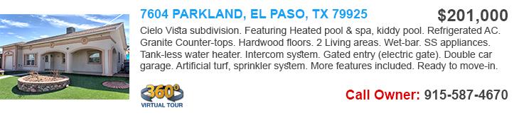 7604 Parkland, El Paso TX 79925