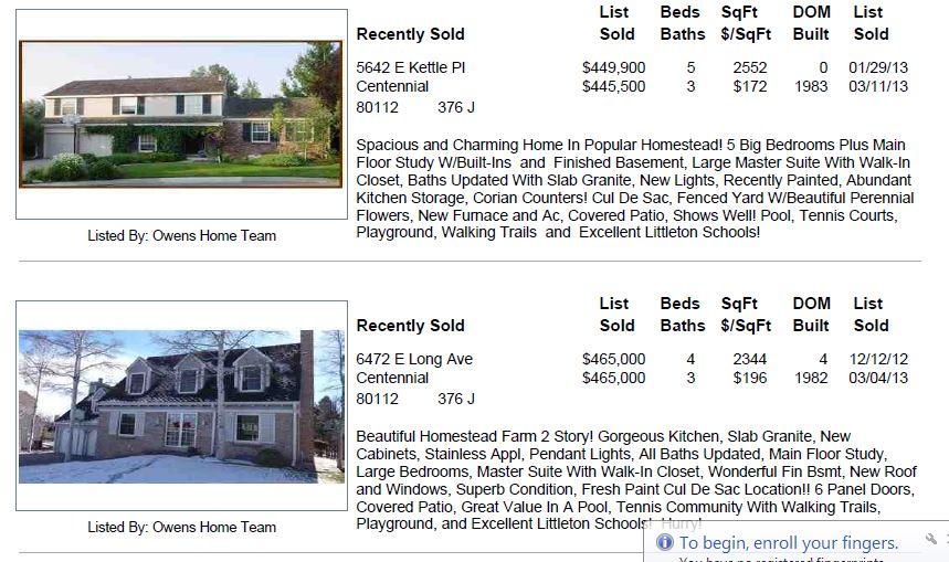 Homestead Farm II Home Sales 2013