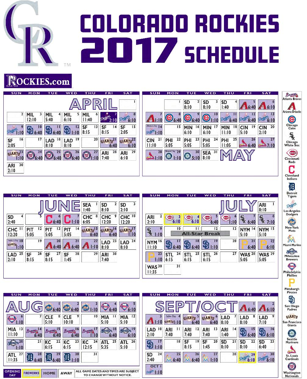 Colorado Rockies 2017 Schedule