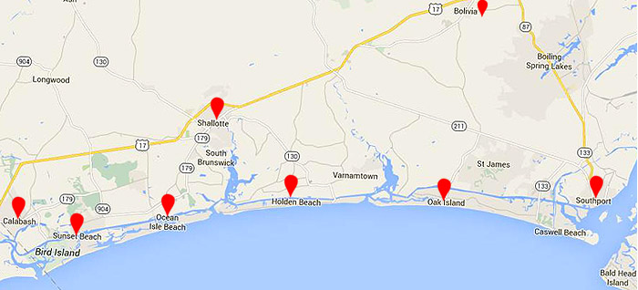 Map of Brunswick County Beaches