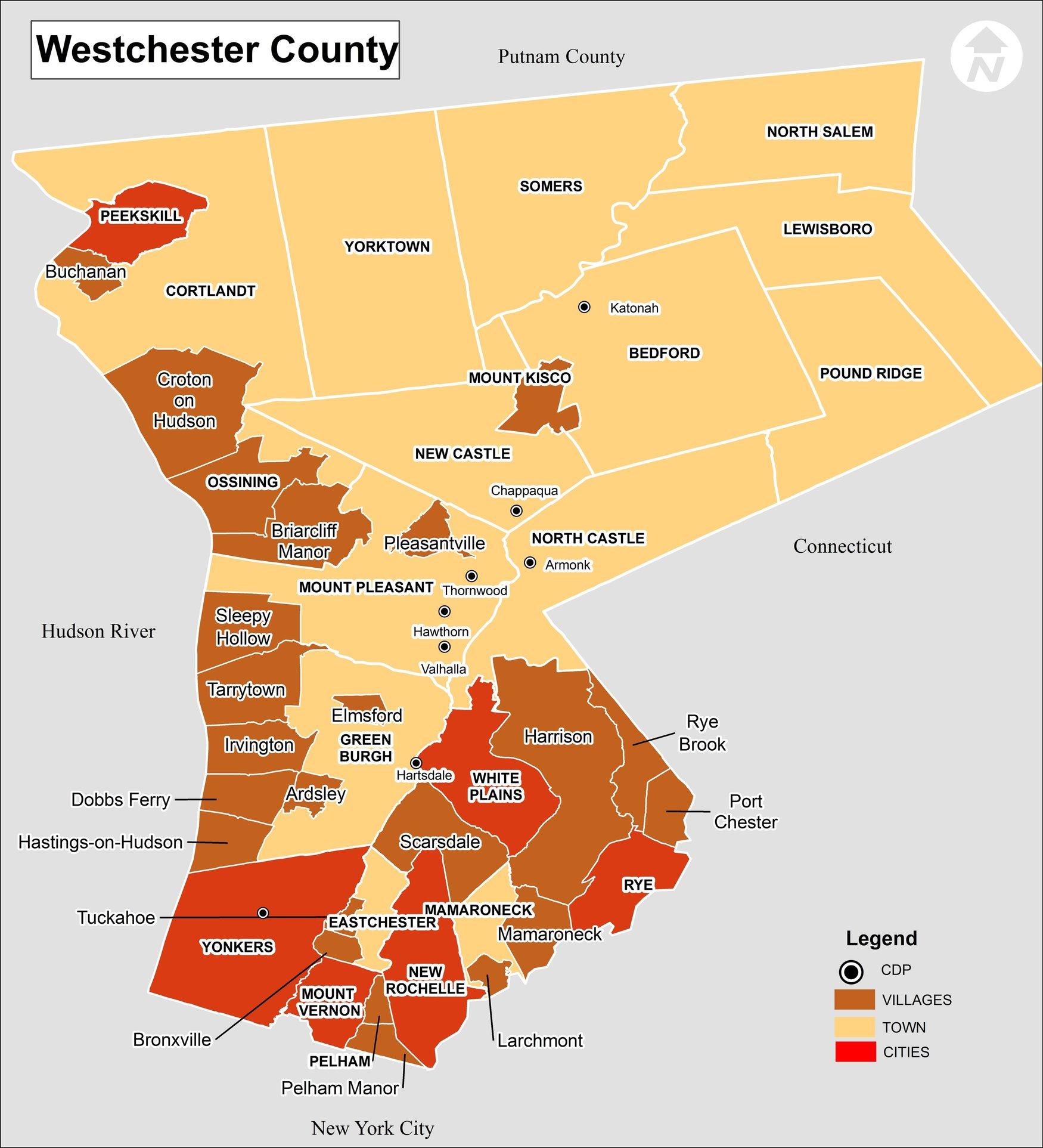 Westchester County NY Map