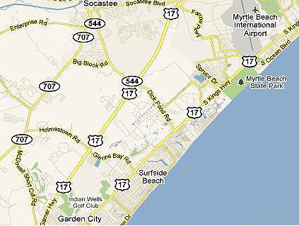 Map of Surfside Beach SC