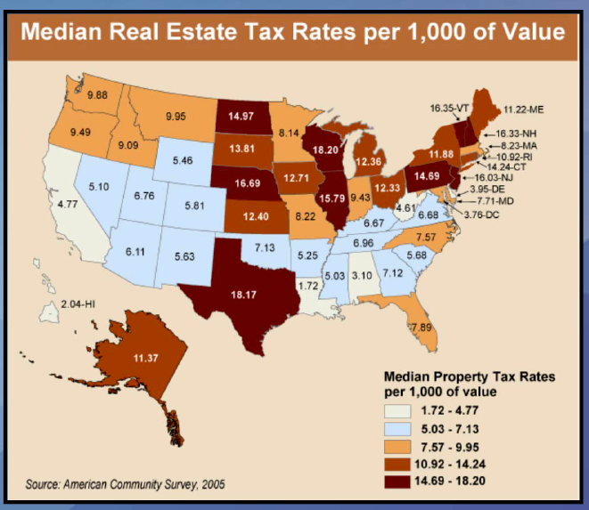 Map of States for Tax Rates