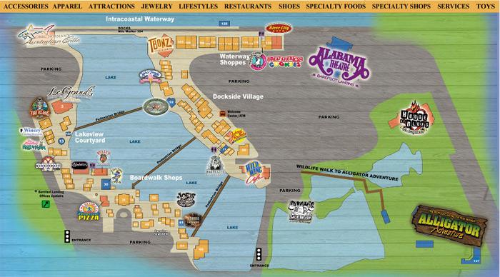 Barefoot Landing Resort Myrtle Beach Map