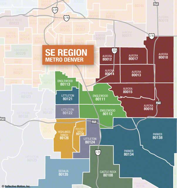 SE Denver Regional Zip Code Map