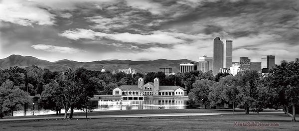 Panoramic view of Denver Skyline from City Park