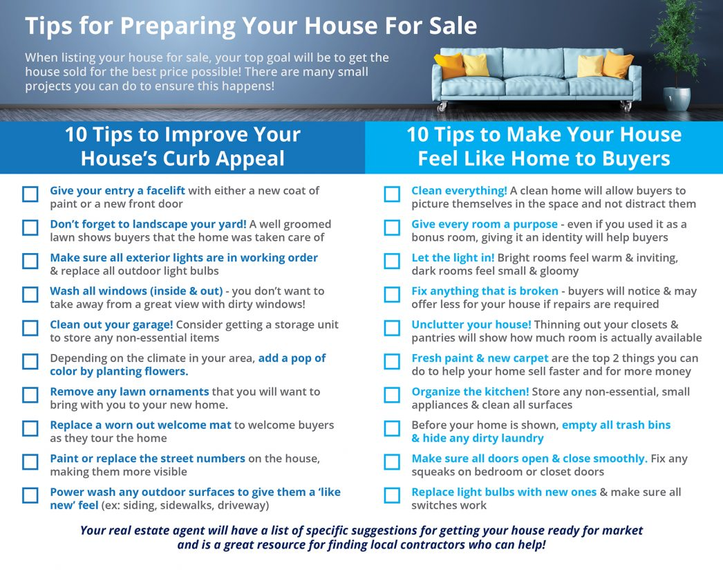 Tips for preparing your house for sale for Things to do when buying a house