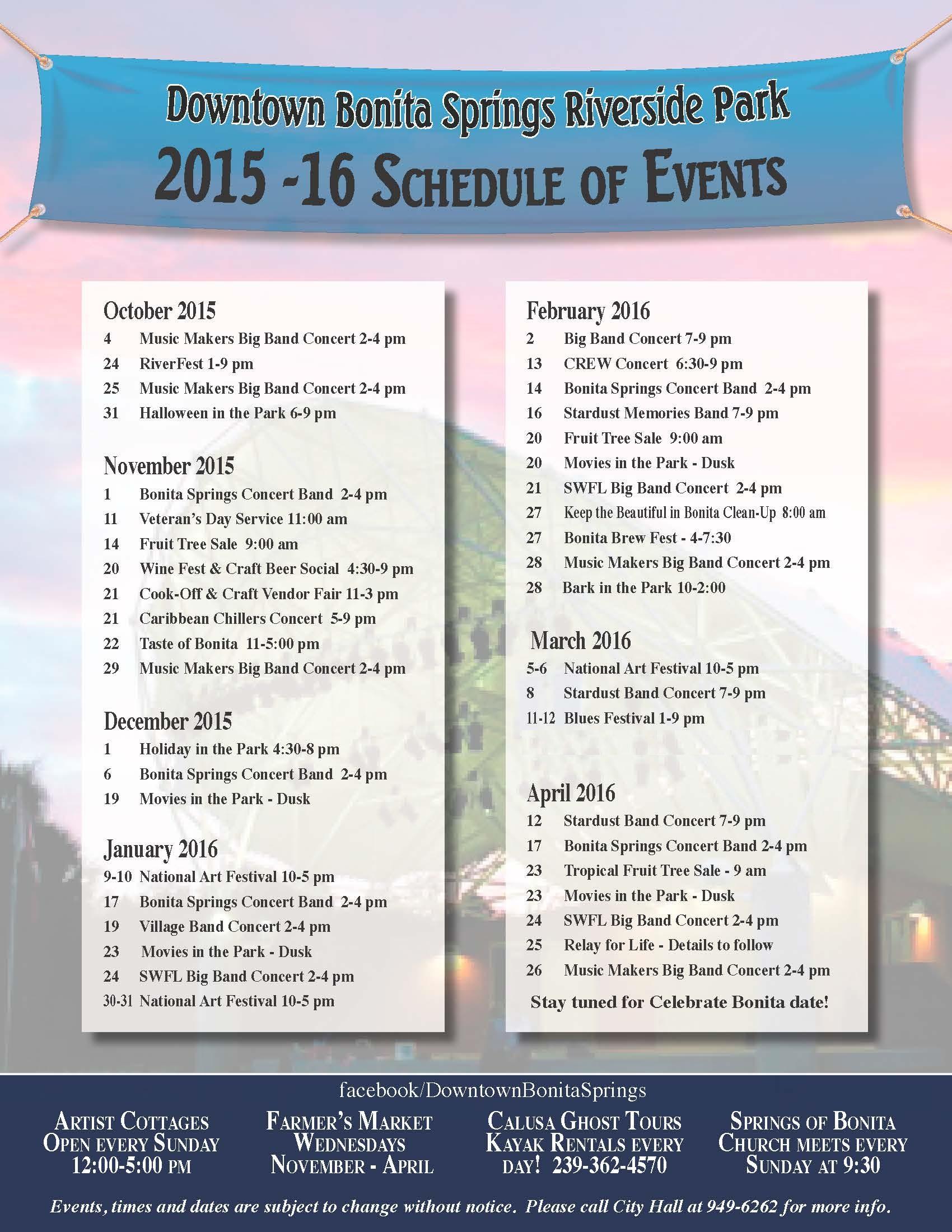 Bonita Springs Calendar 2016