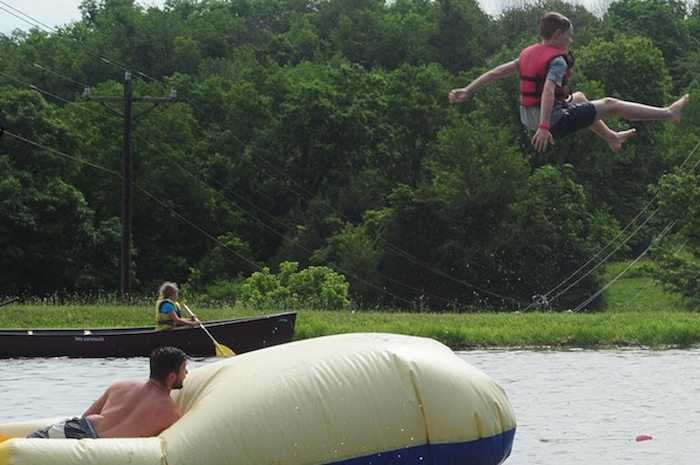 playing on the water at Camp Hi-Ho