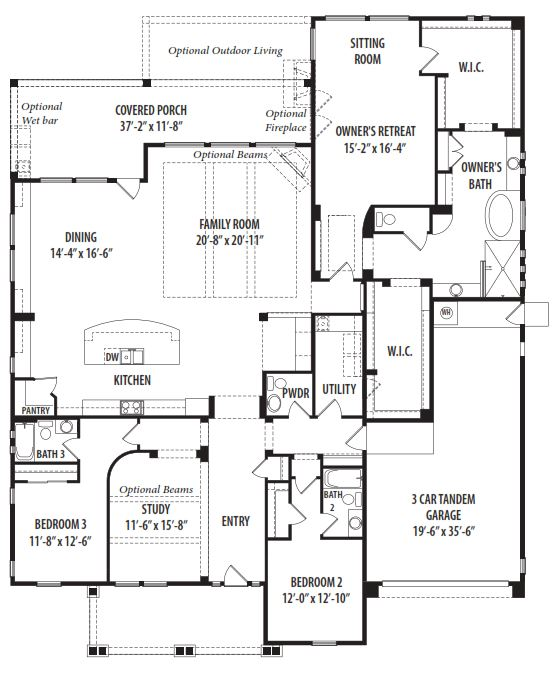 Prosperity floor plan by tw lewis victory at verrado for Az house plans
