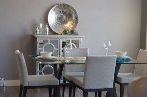 dining area with four chairs and a table