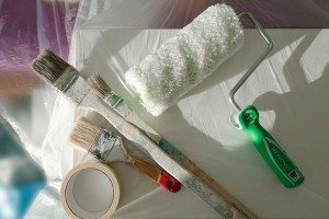 paint roll and paint brushes