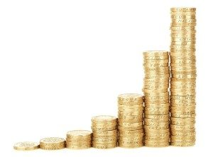 a stack of coins gradually increasing in height